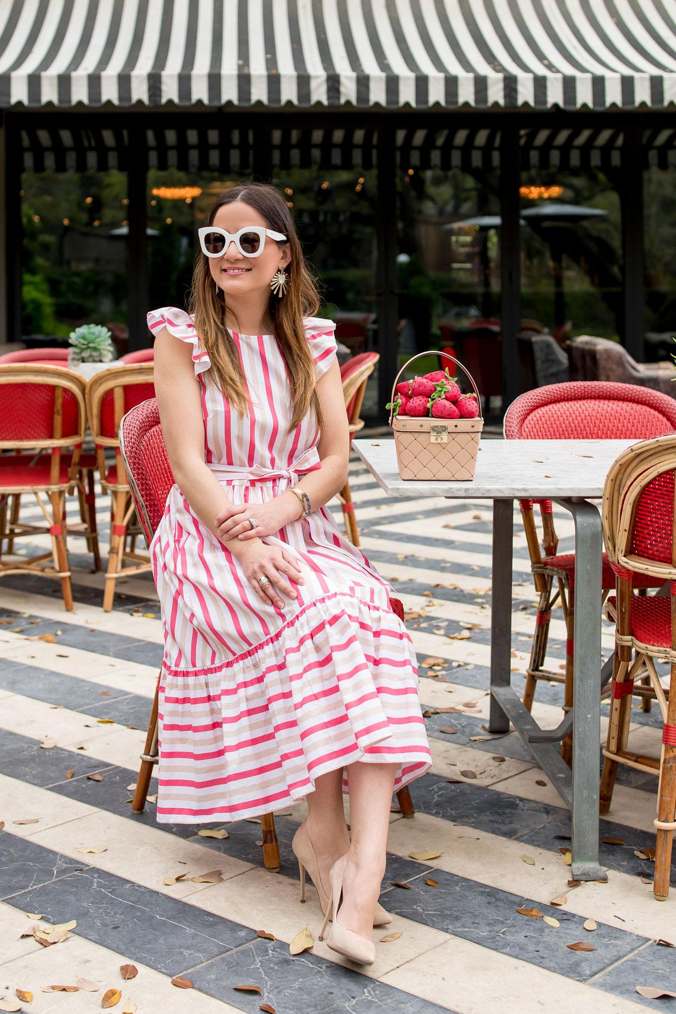 Jennifer Lake Kate Spade Pink Stripe Midi Dress