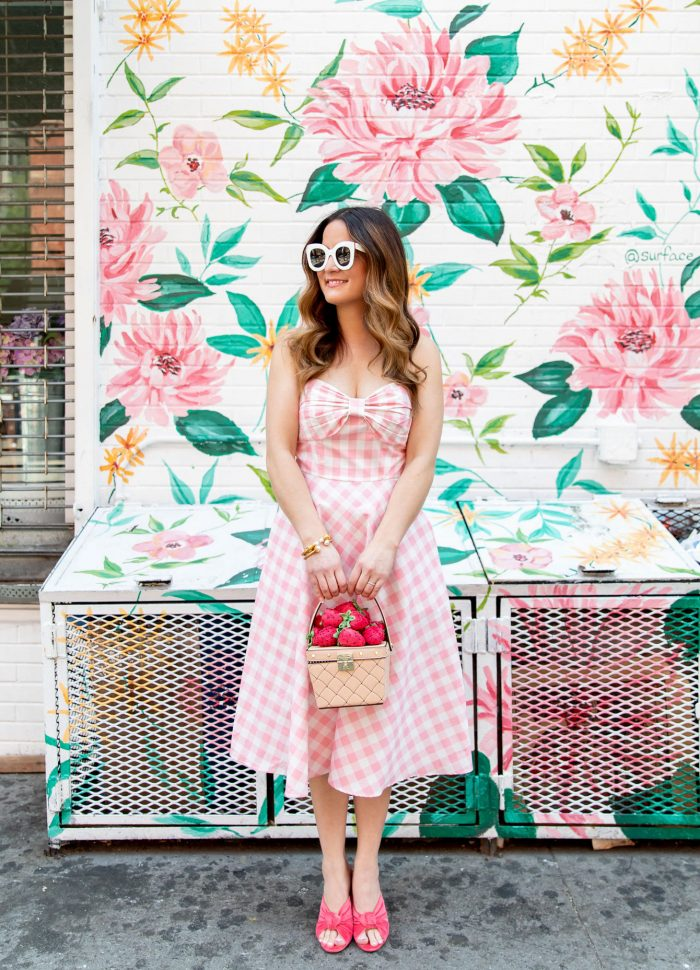 Pink Gingham Fit and Flare Midi Dress at a Nolita Floral Mural