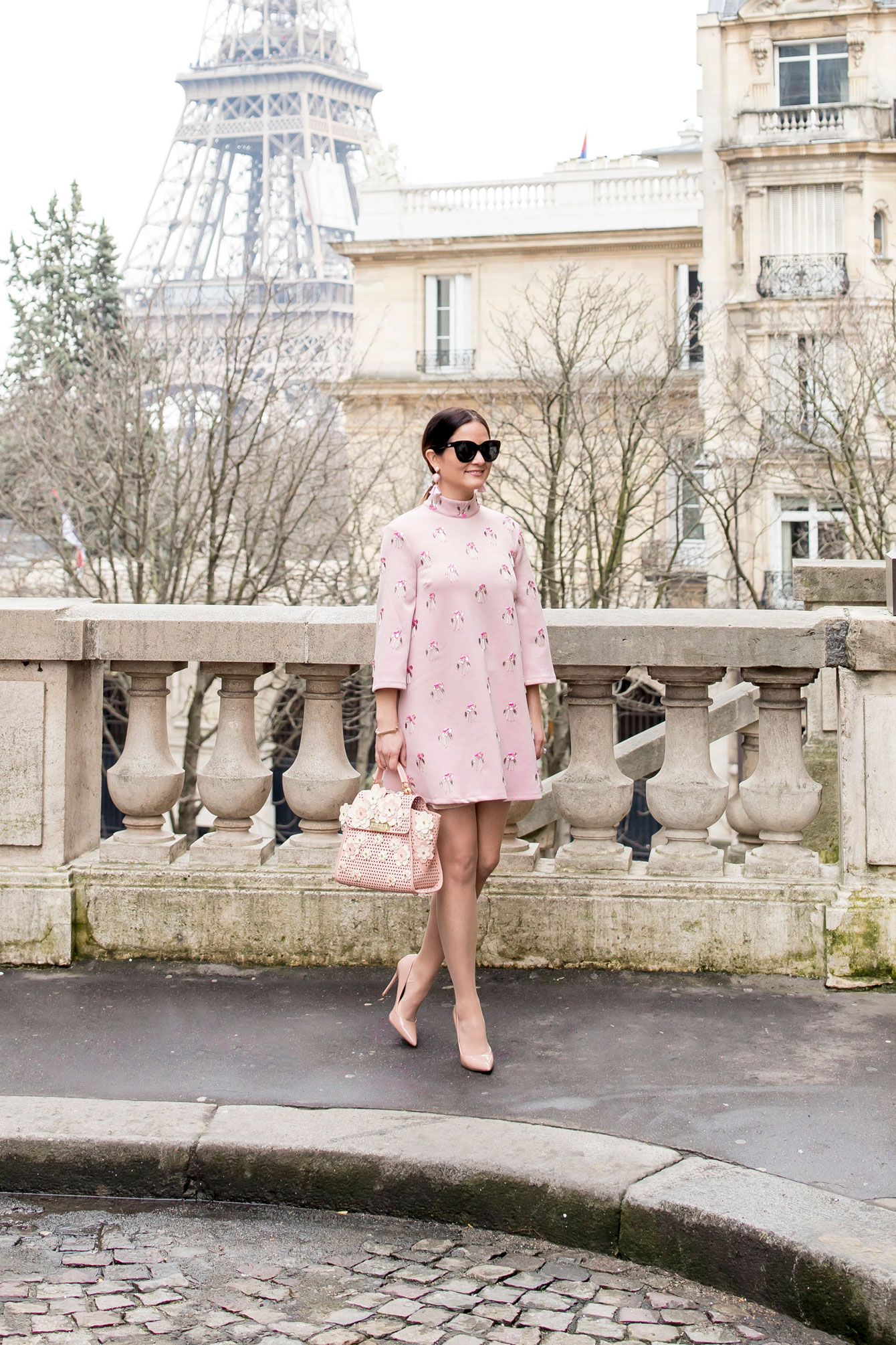 Jennifer Lake Pink Dress Paris