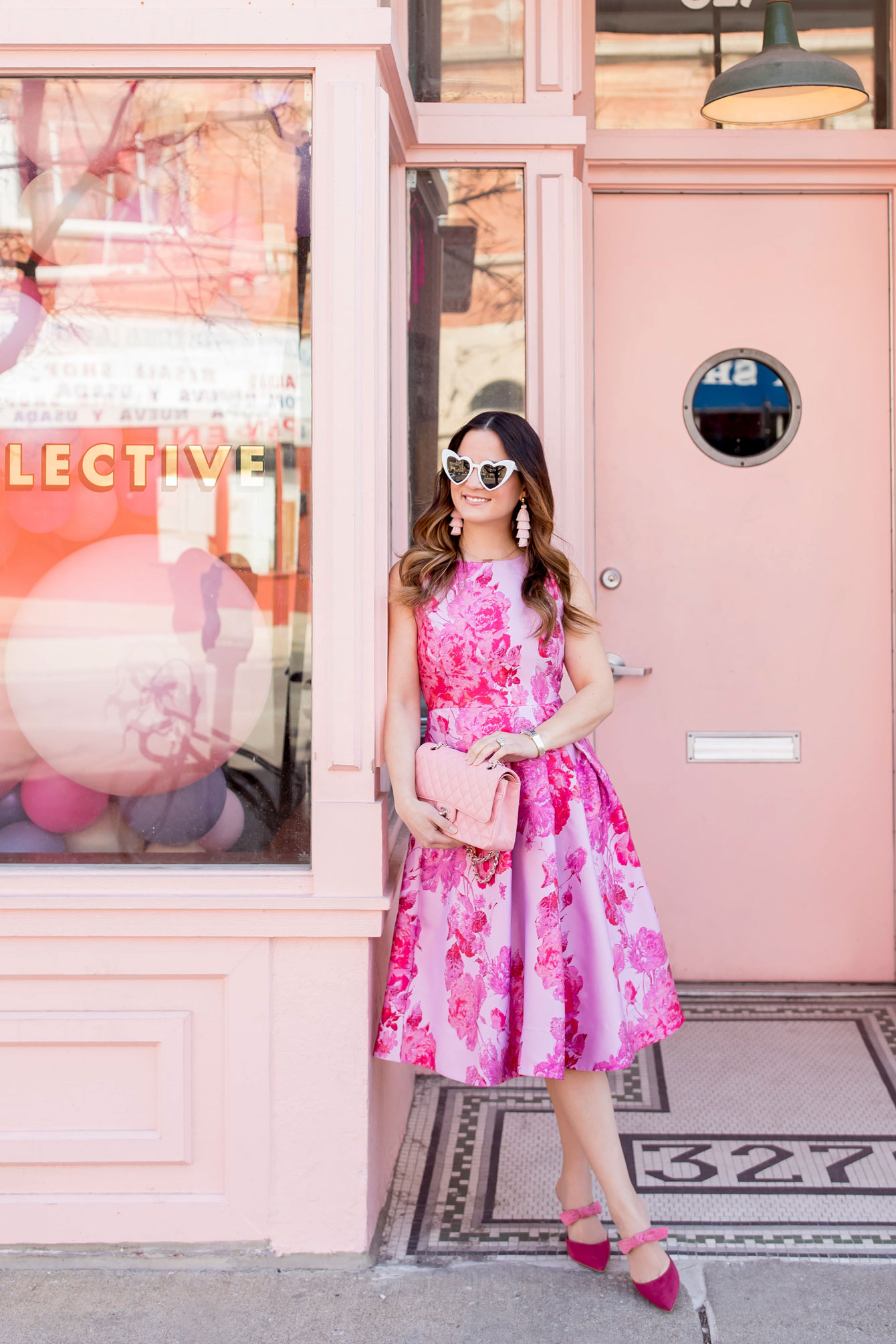 Jennifer Lake Pink Floral Fit Flare Dress