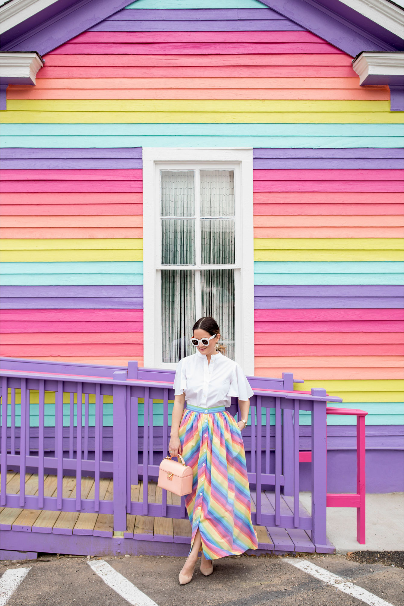 Jennifer Lake Rainbow Stripe House Austin