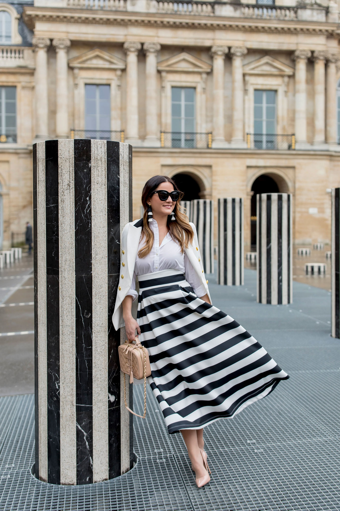 Jennifer Lake Stripe Midi Skirt Paris