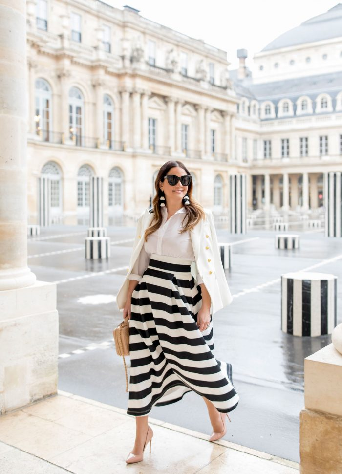 Black and White Midi Skirt in Paris // Palais Royal Stripe Columns