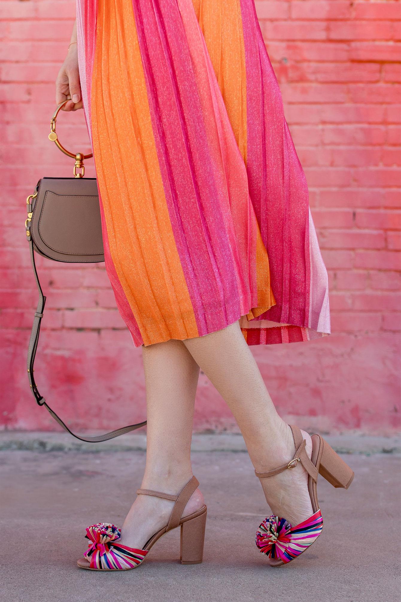 Anthropologie Maeve Pink Ombre Pleated Midi Skirt