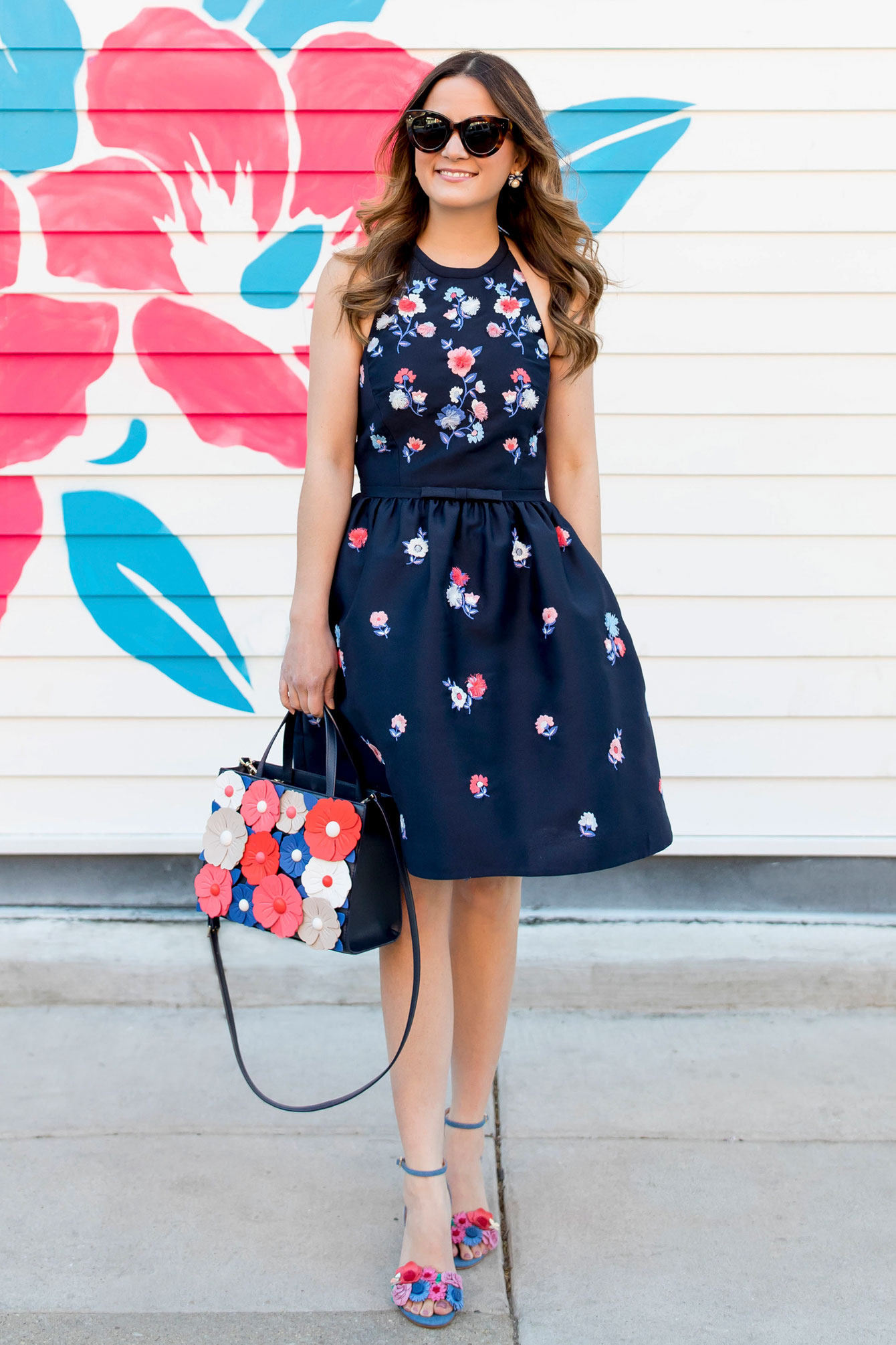 Kate Spade Navy Floral Embroidered Fit Flare Dress And Sam Bag