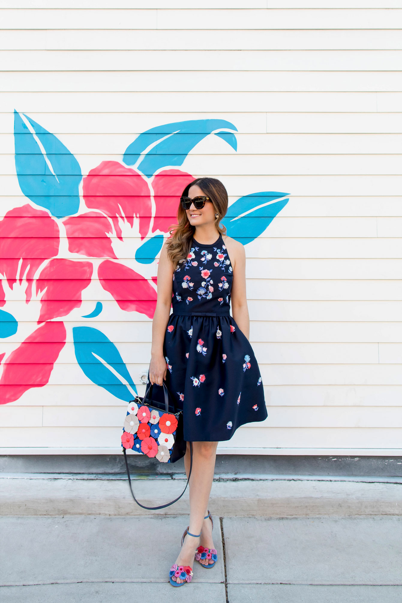 Kate Spade Navy Floral Embroidered Fit Flare Dress