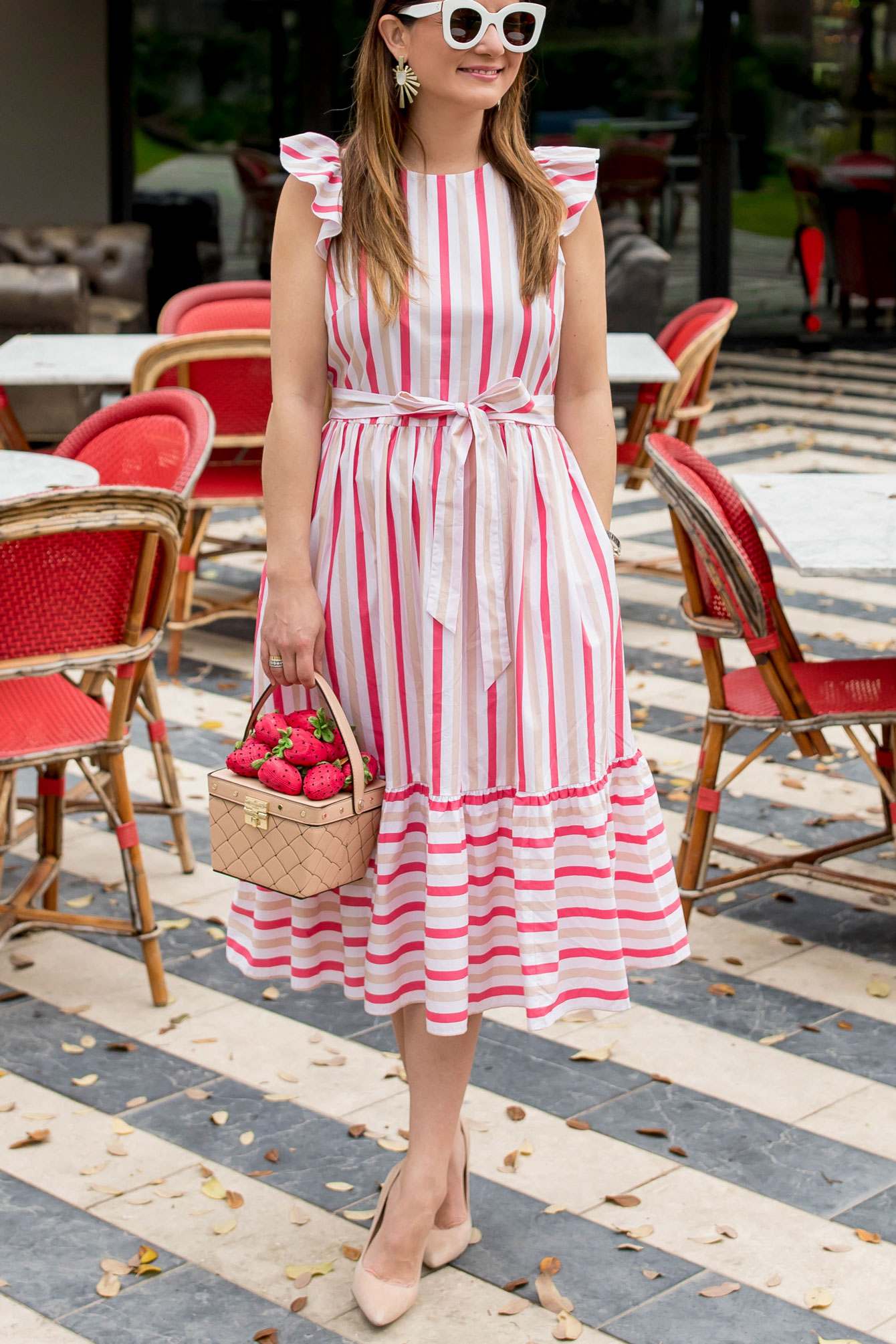 Kate Spade Pink Stripe Midi Dress