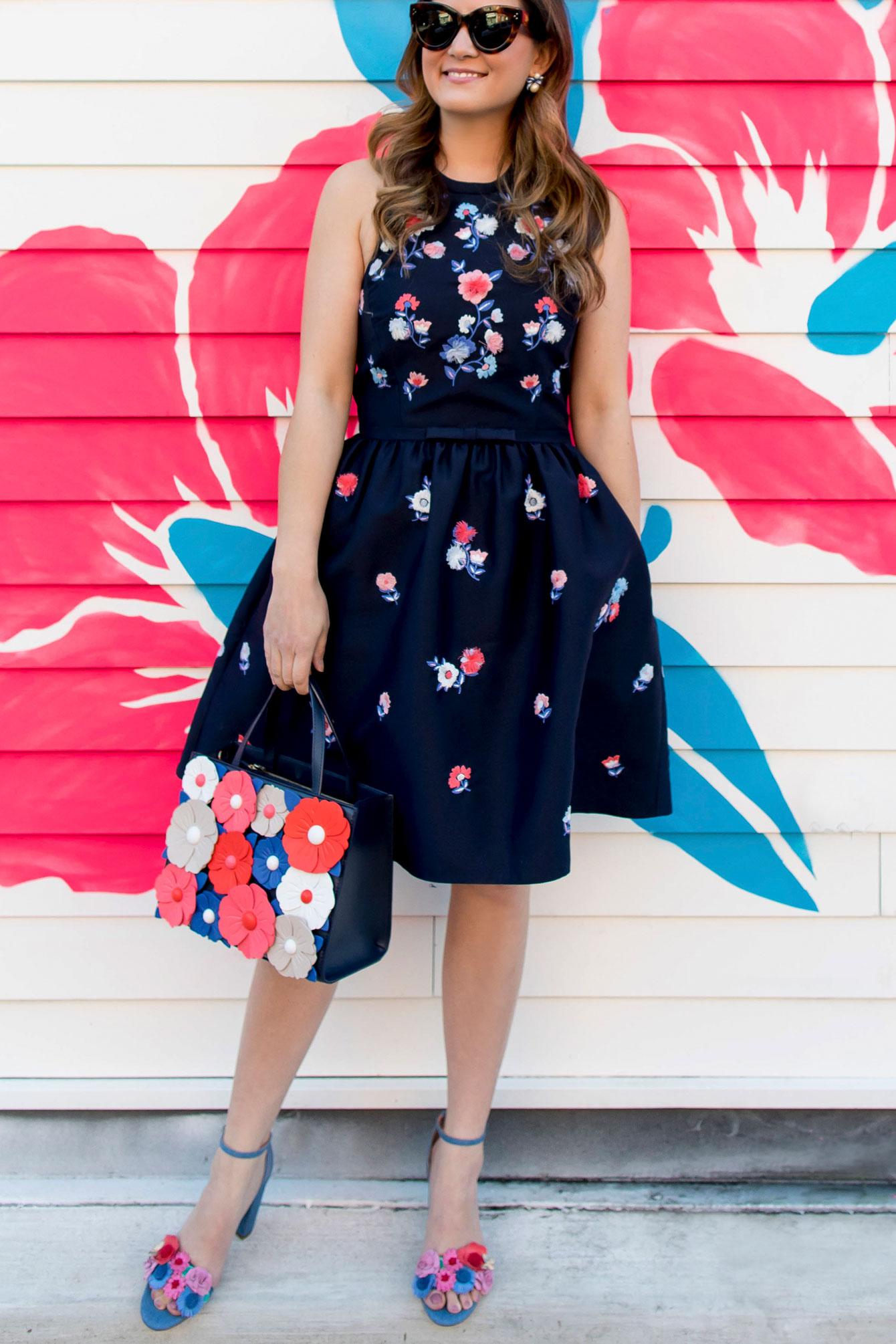 Kate Spade Pom Pom Embroidered Dress