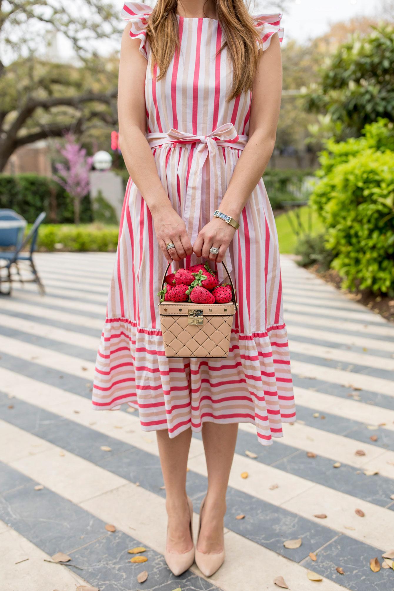 Kate Spade Stripe Ruffle Sleeve Dress