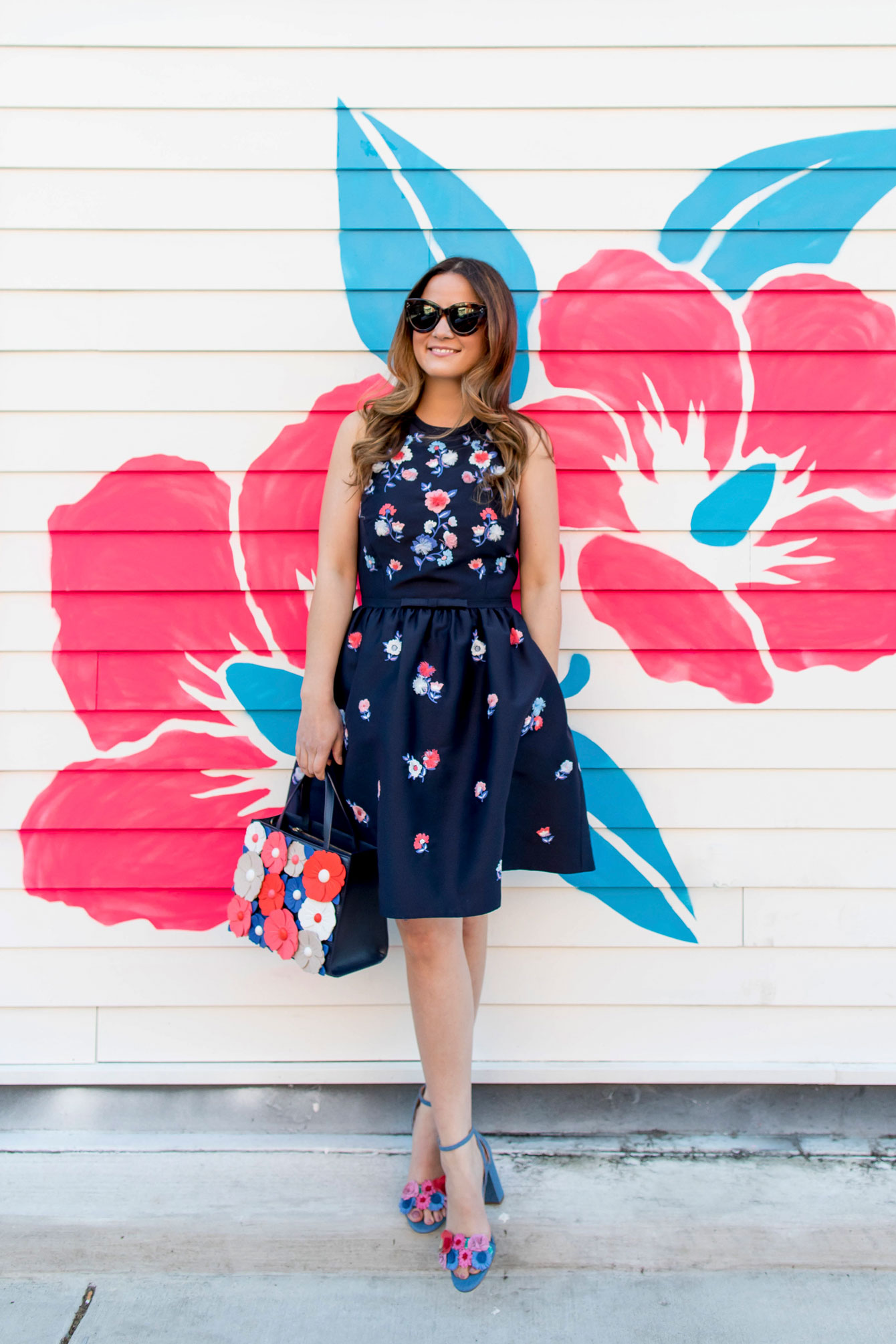 Navy Floral Embroidered Fit Flare Dress