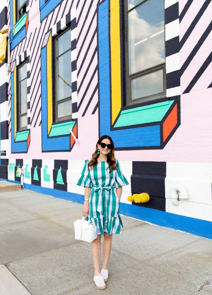 Green Gingham Ruffle Dress at a Camille Walala Mural in Brooklyn