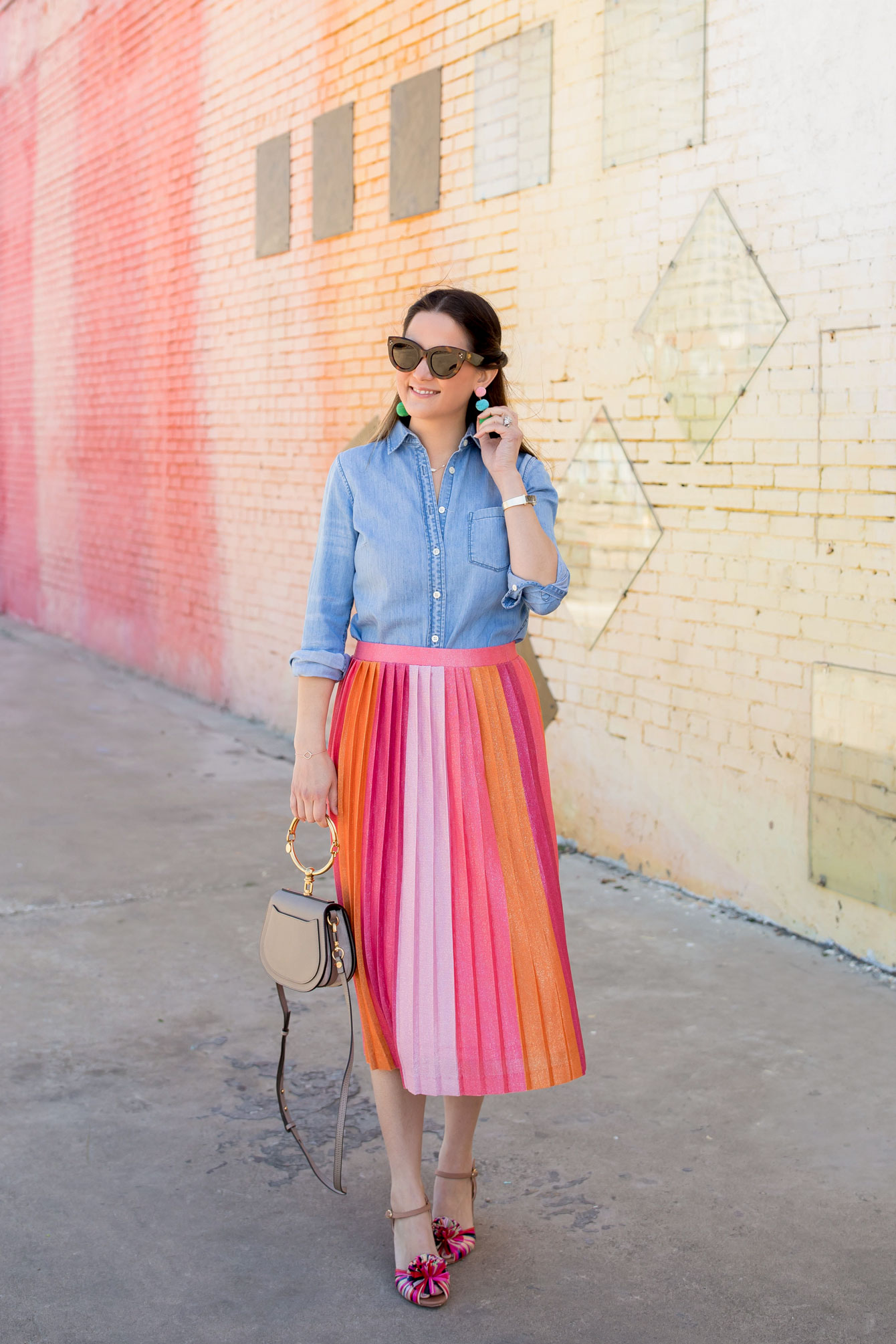 Pink Ombre Pleated Midi Skirt