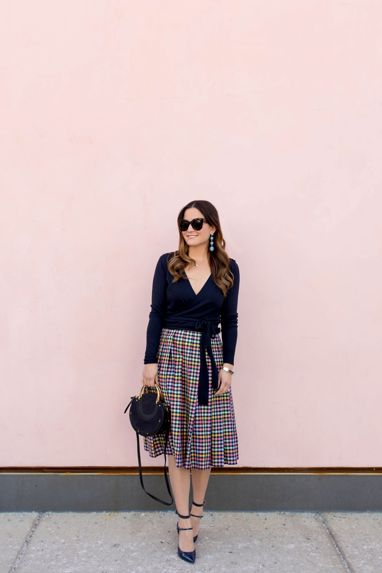 1901 Navy Check Pleated Midi Skirt