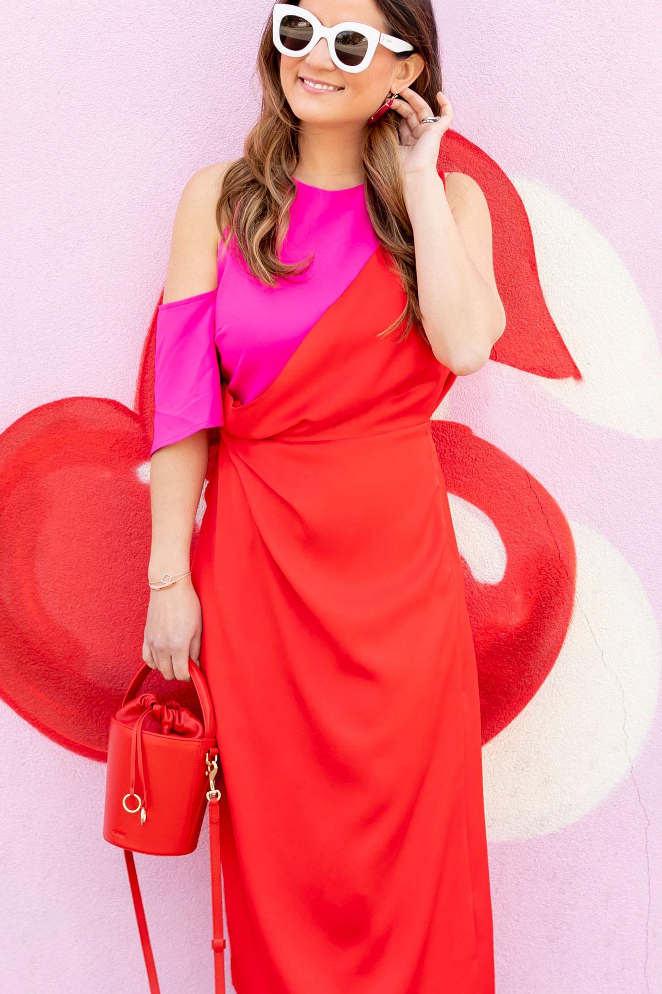 ASOS Red Pink Draped Dress