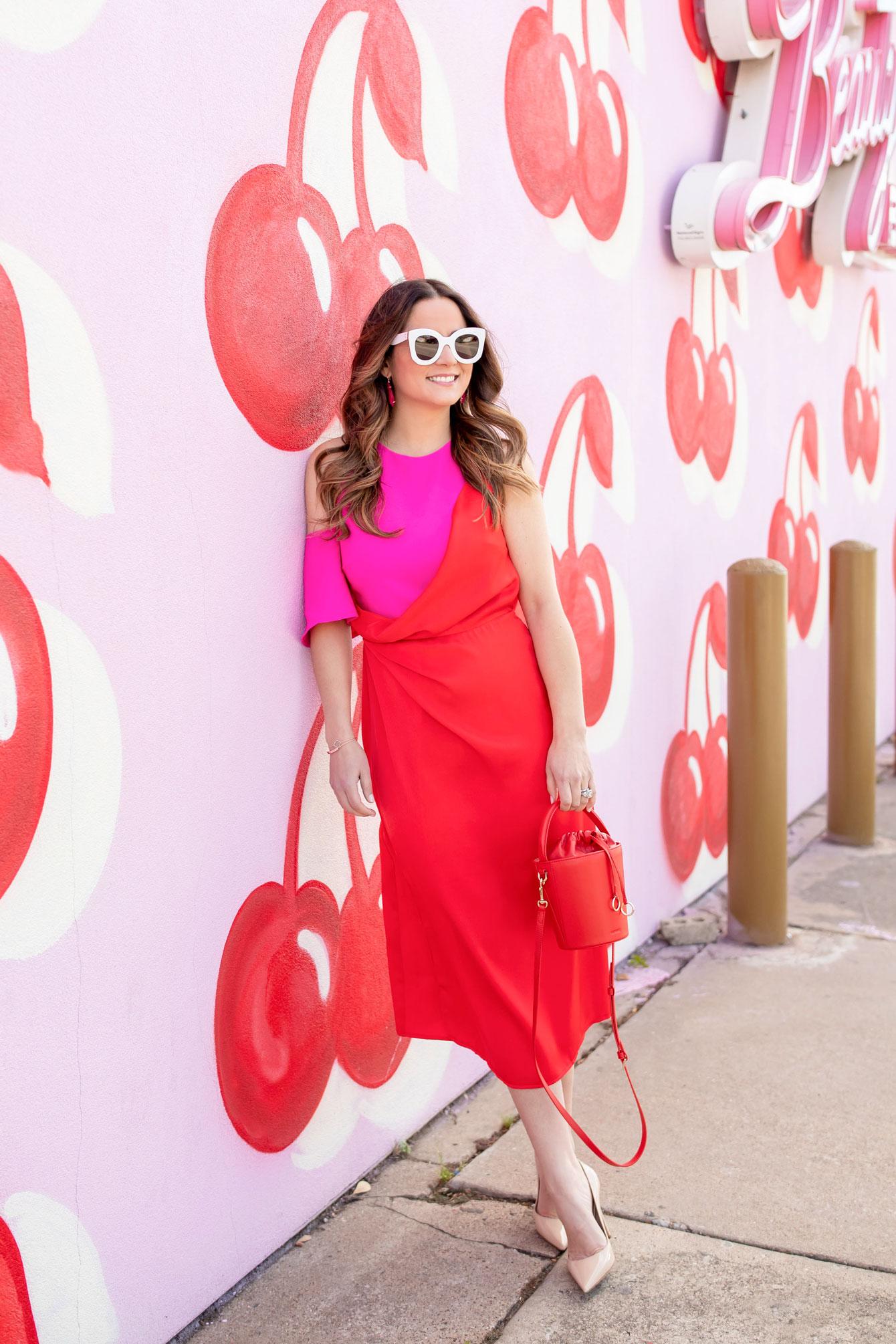 ASOS Red Pink Midi Dress
