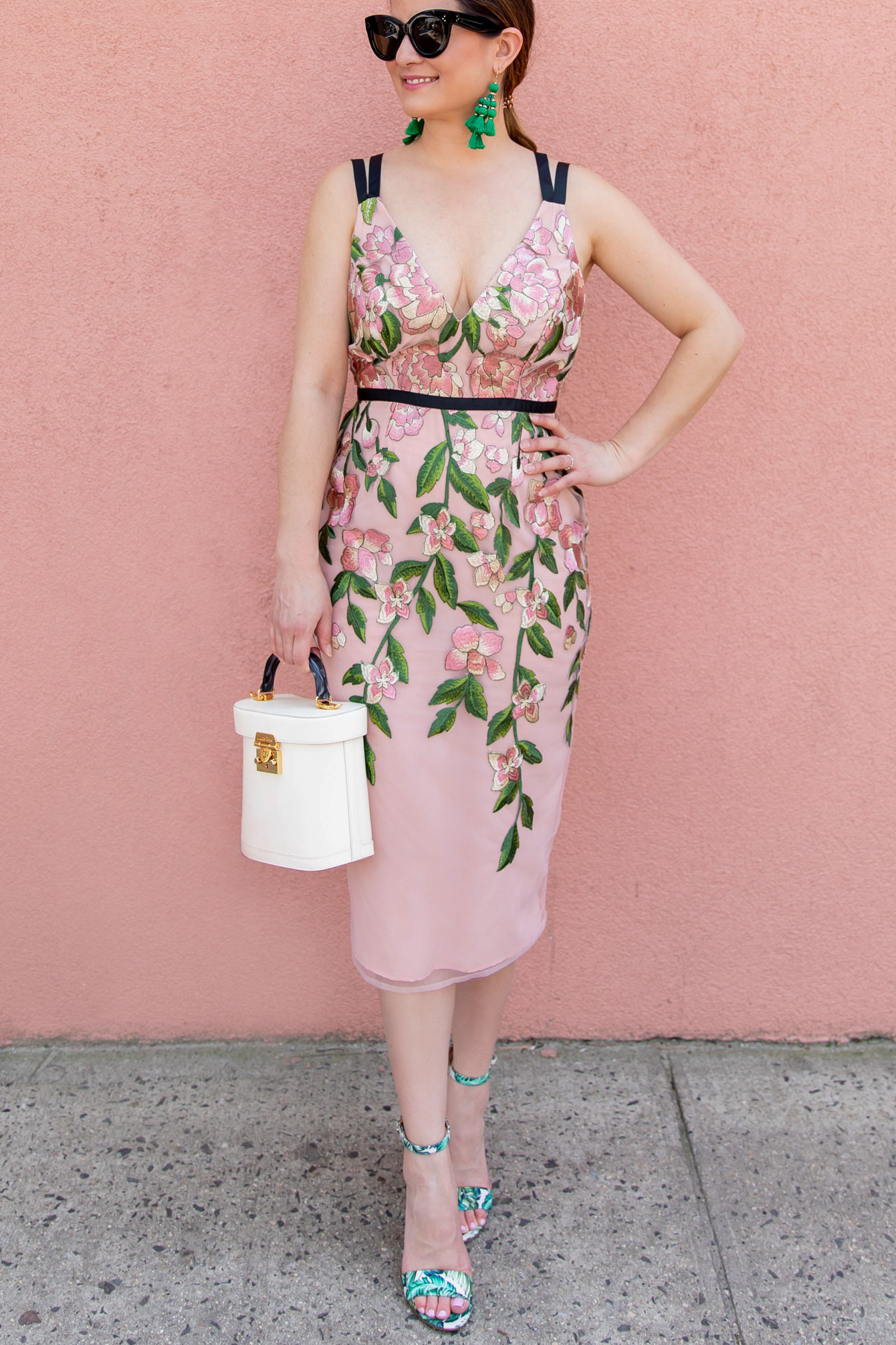 Blush Floral Embroidered Pencil Dress