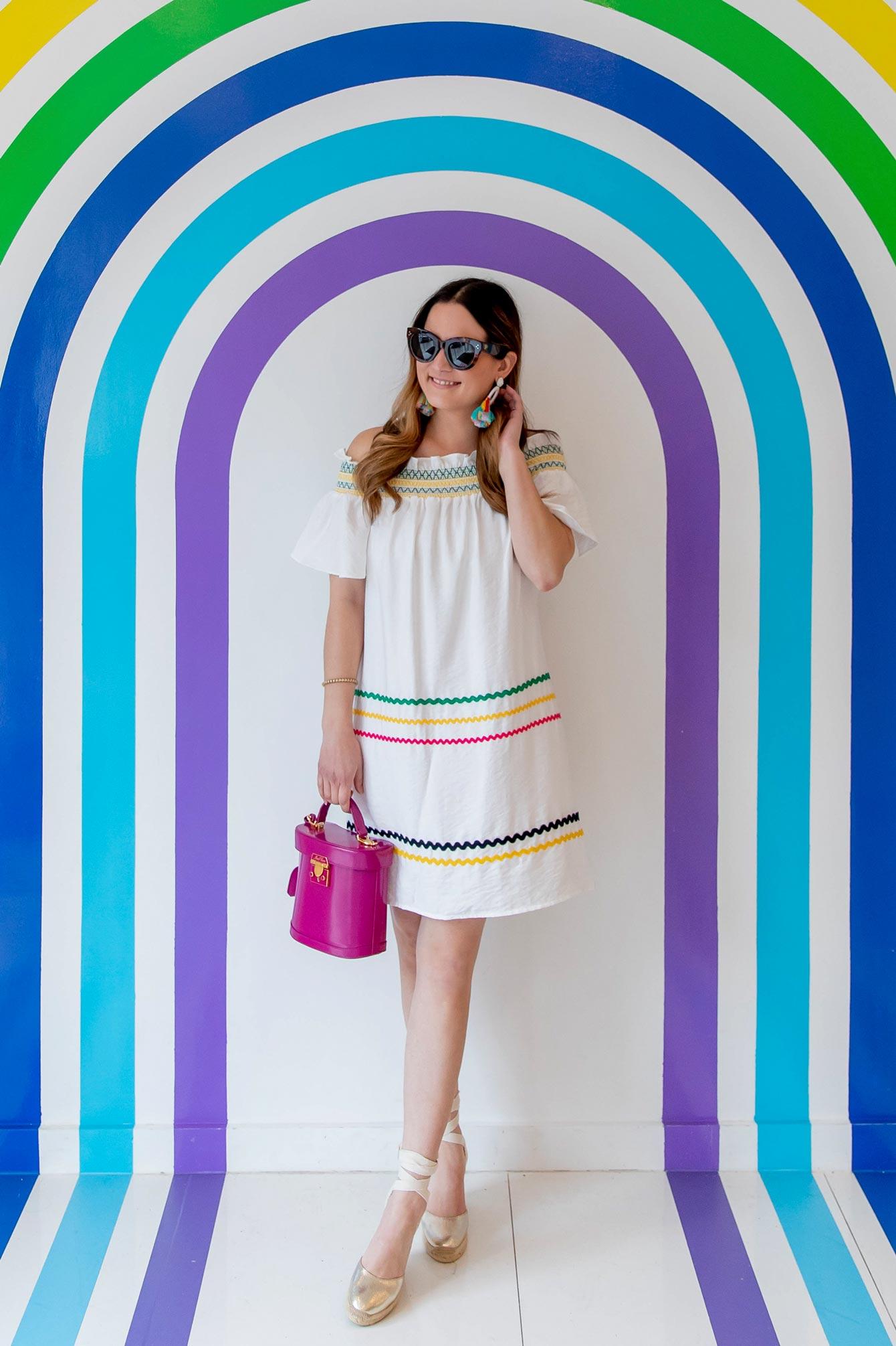 CeCe Rainbow Ric Rac Strapless Dress