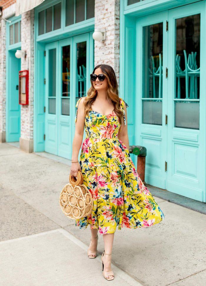 Eliza J Yellow Floral Midi Dress in New York City