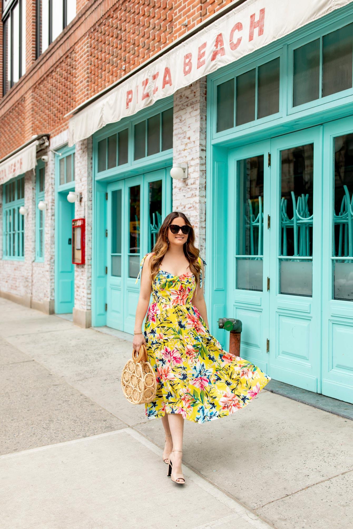 Eliza J Yellow Floral Midi Dress