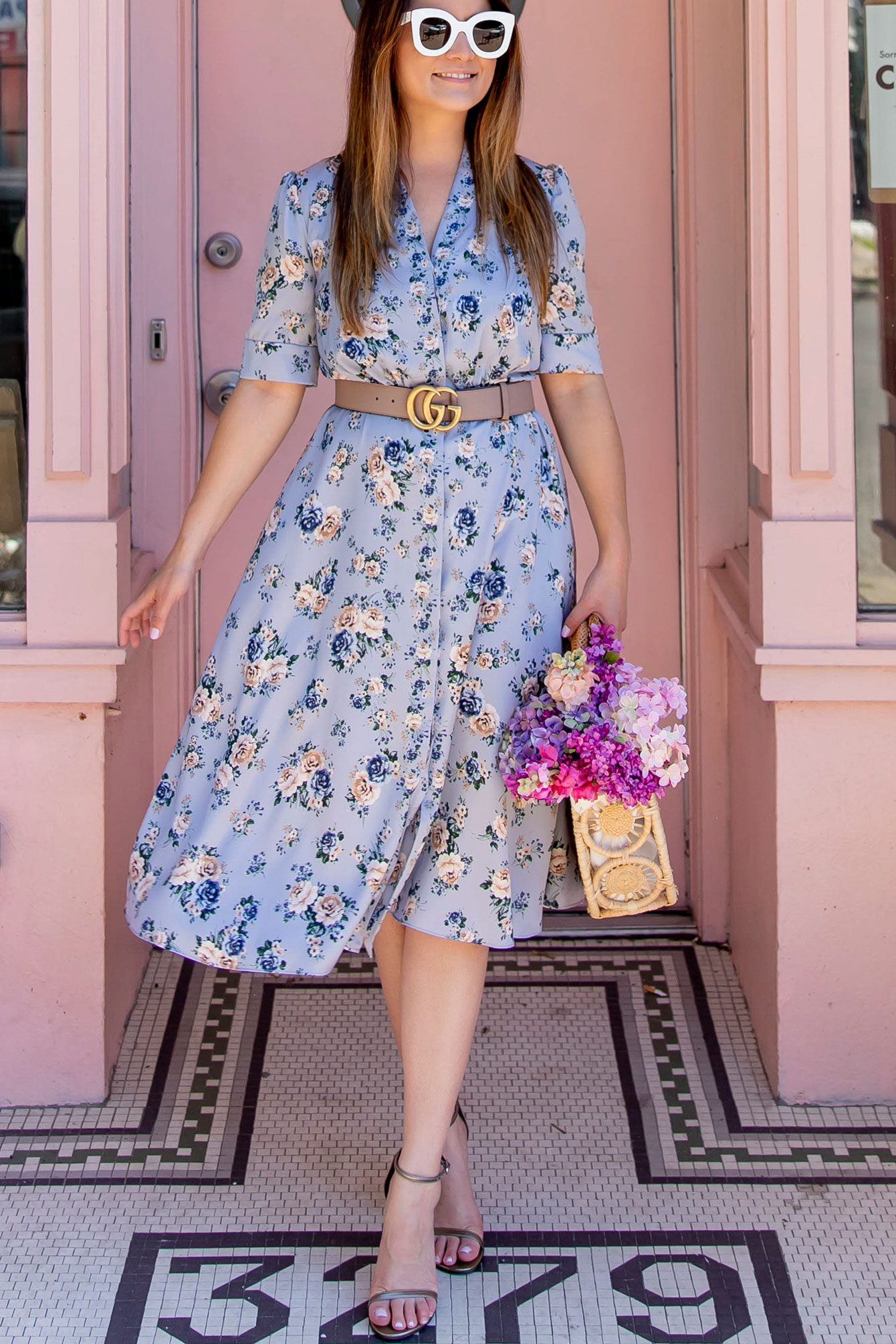 Gal Meets Glam Collection Blue Floral Dress