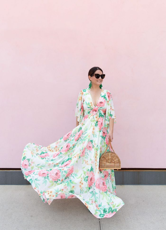 Pink Floral Print Tie Front Maxi Dress and Cult Gaia Dome Bag