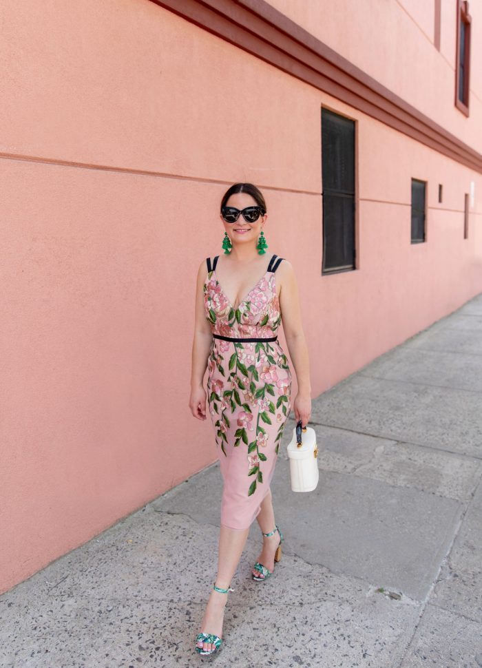 Blush Floral Embroidered Pencil Dress in Brooklyn