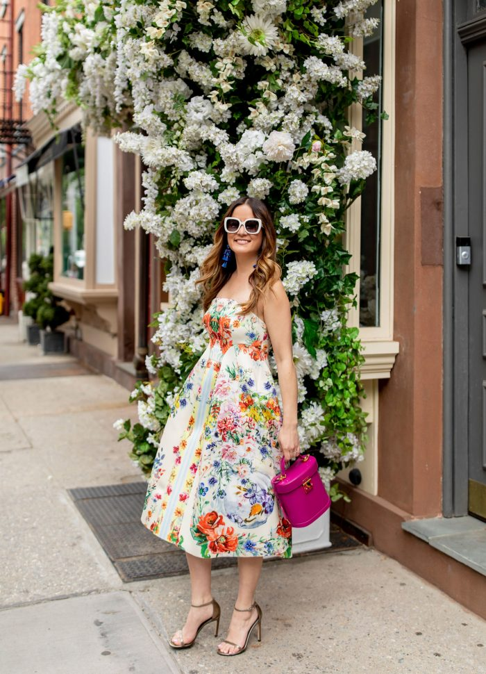 Strapless Floral Trapeze Midi Dress in Greenwich Village