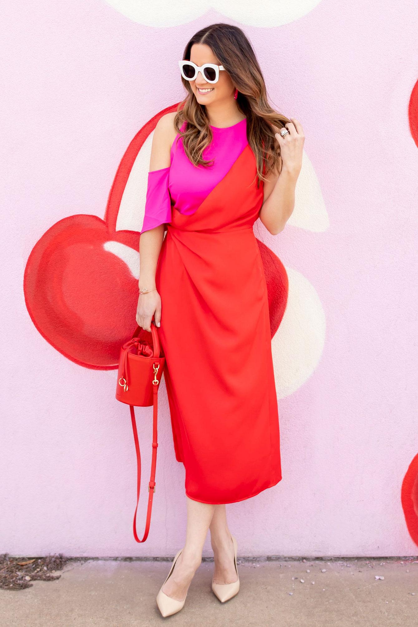Jennifer Lake Red Pink Dress