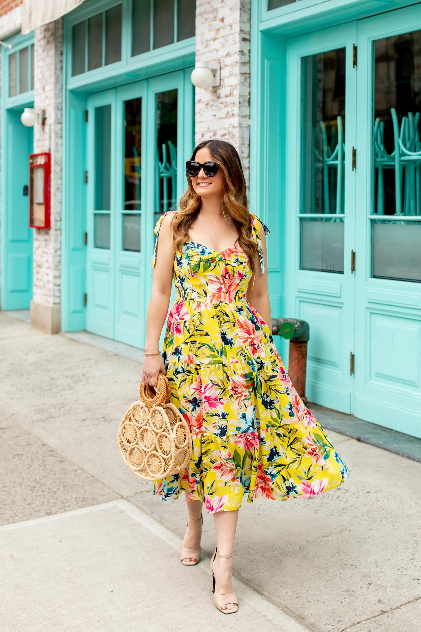 Jennifer Lake Yellow Floral Dress