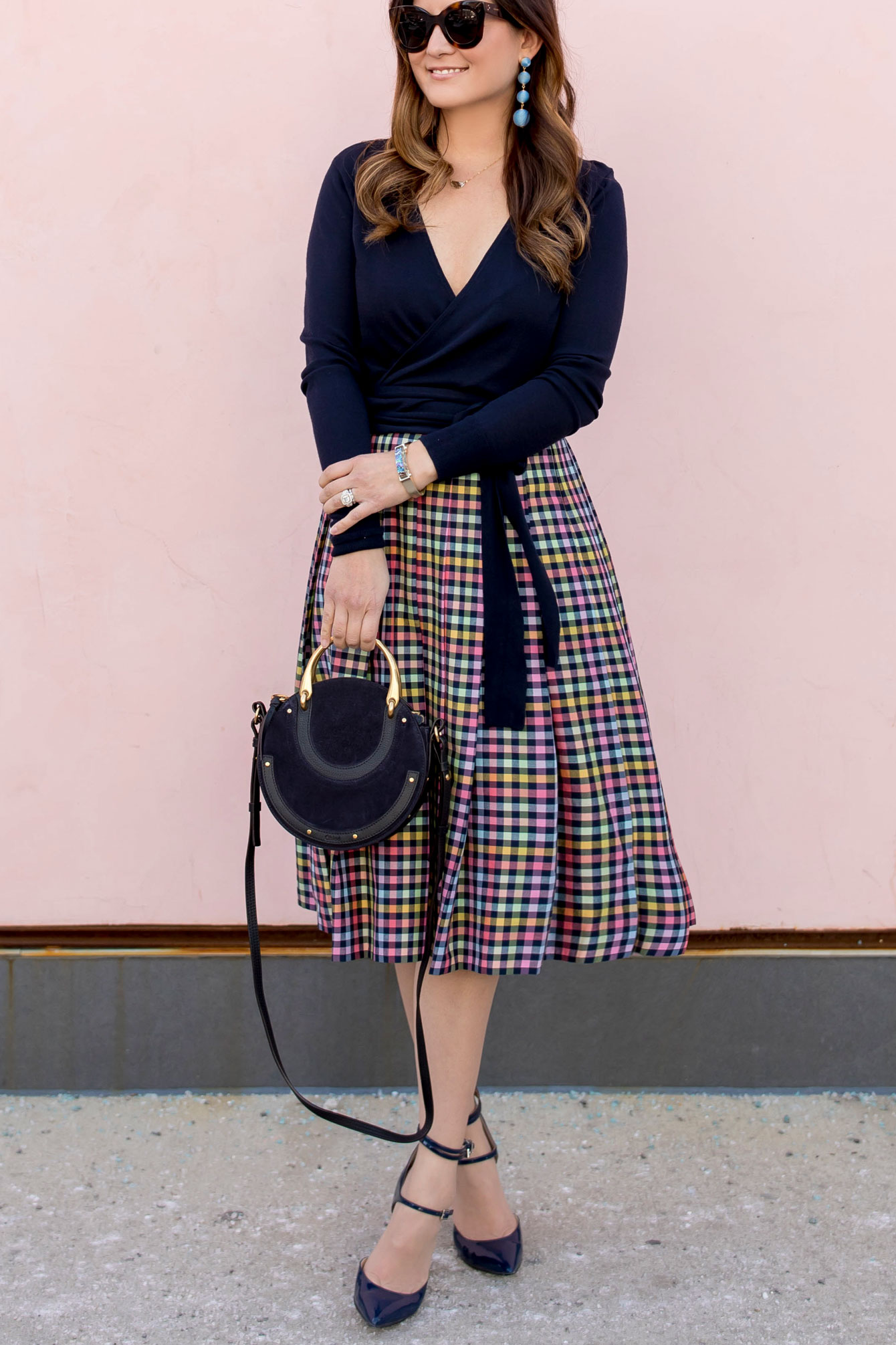 Nordstrom Navy Check Pleated Midi Skirt