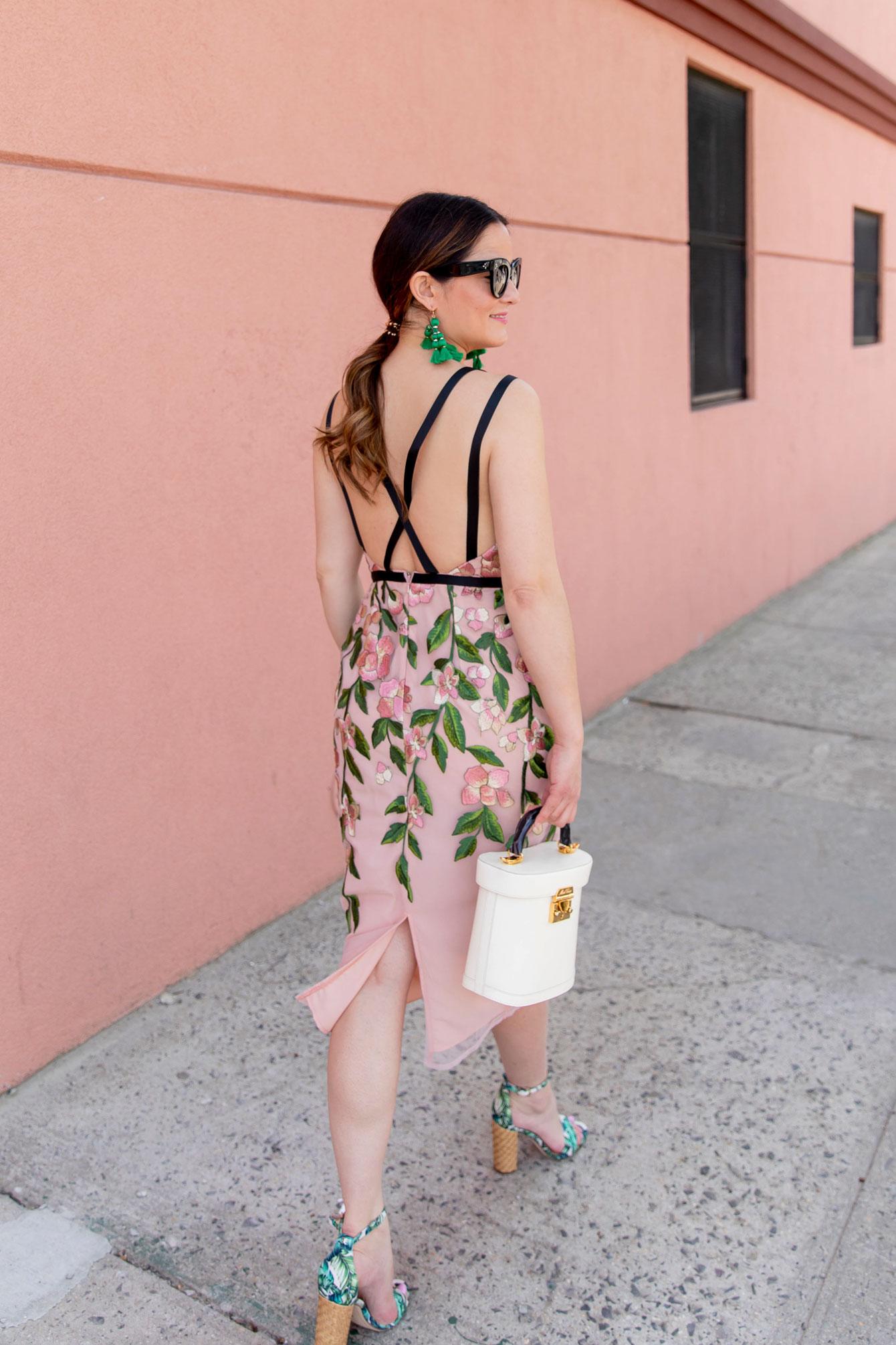 Pink Floral Backless Cocktail Dress