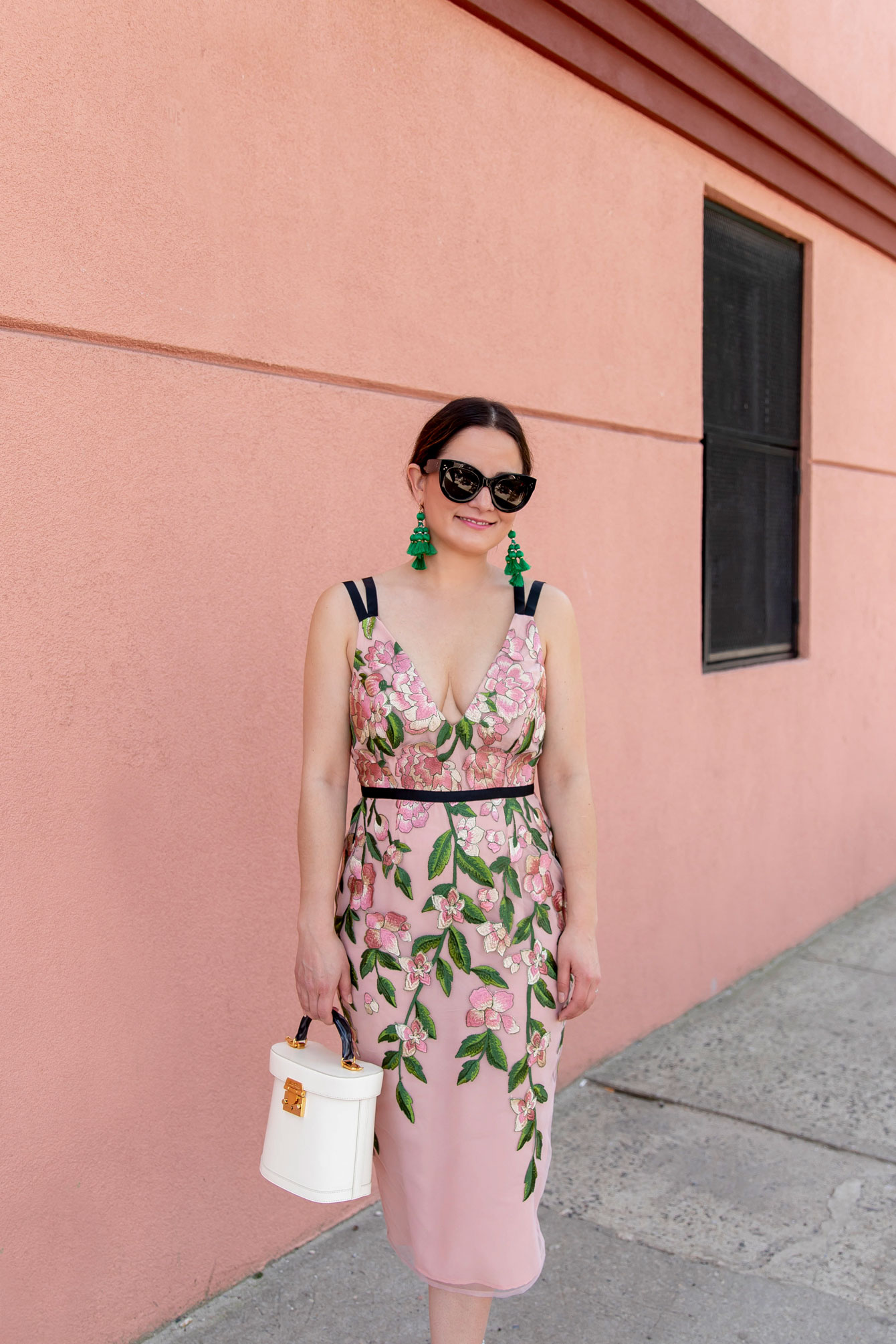 Pink Green Tulle Floral Embroidered Dress