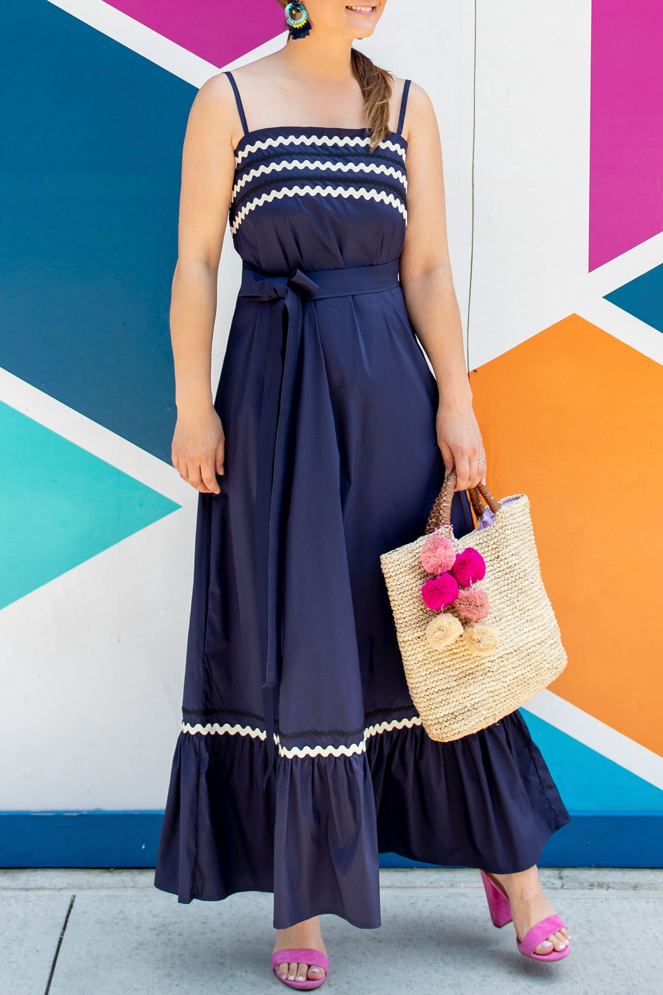 Vineyard Vines Navy Ric Rac Maxi Dress