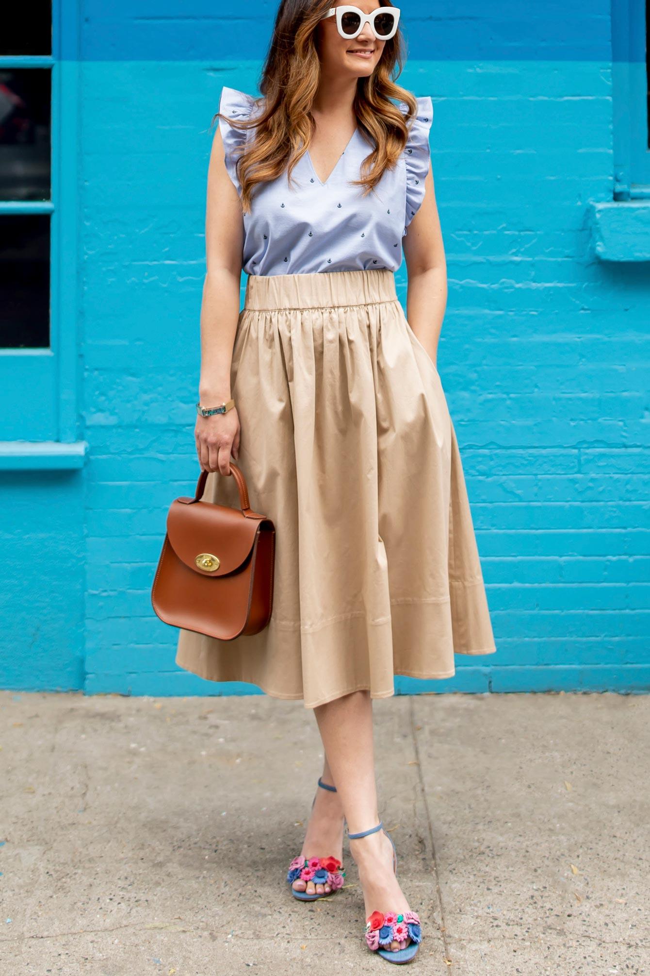 1901 Tan Twill Midi Skirt