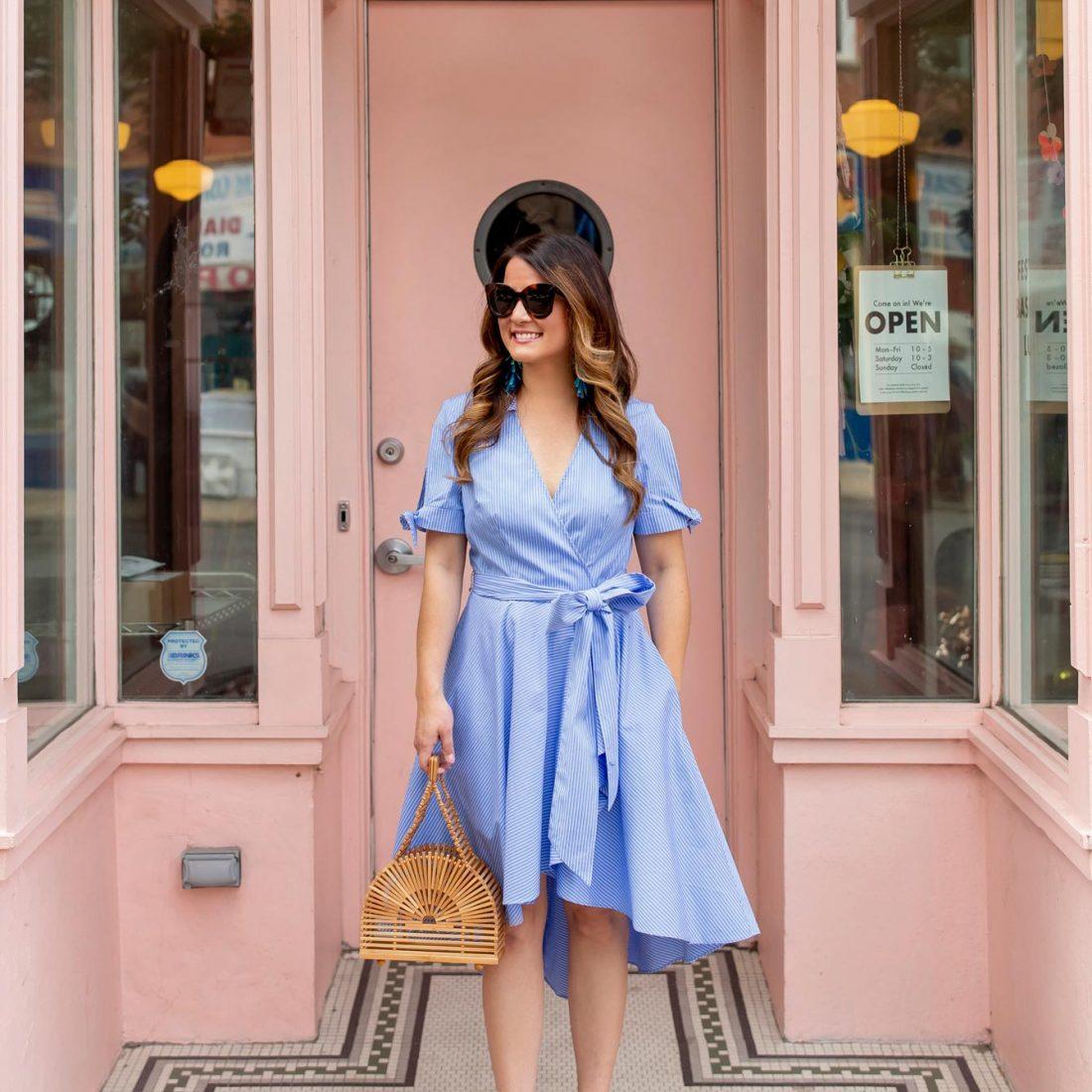 Blue Stripe Faux Wrap Dress