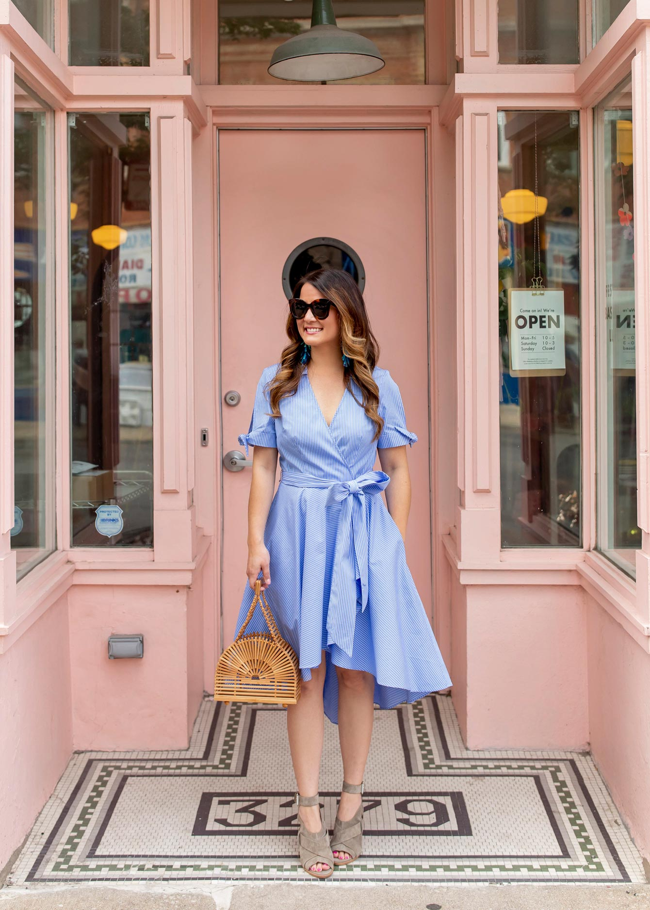 Blue Stripe Faux Wrap Dress