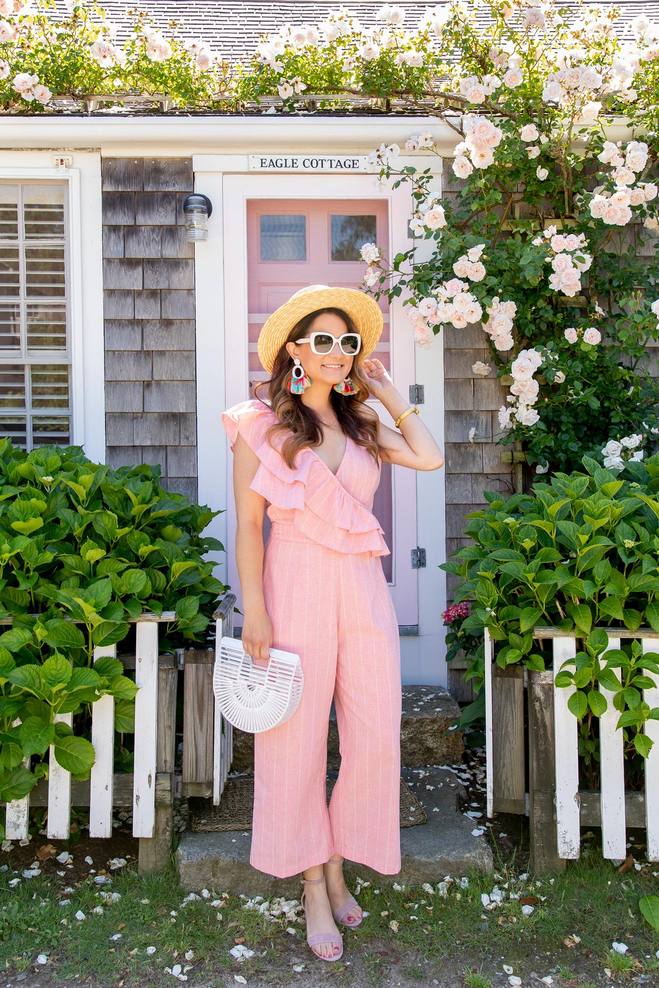 Lost Ink Pink Ruffle Jumpsuit