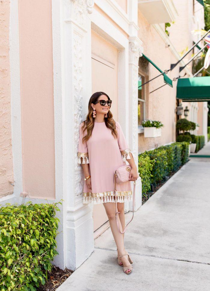 Mestiza Blush Tassel Dress in Palm Beach