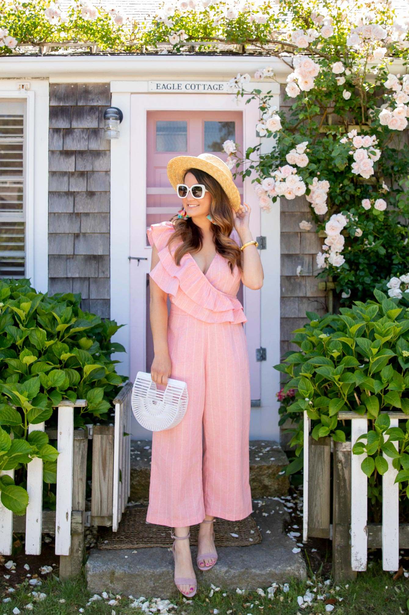 Pink Ruffle Trim Wide Leg Jumpsuit