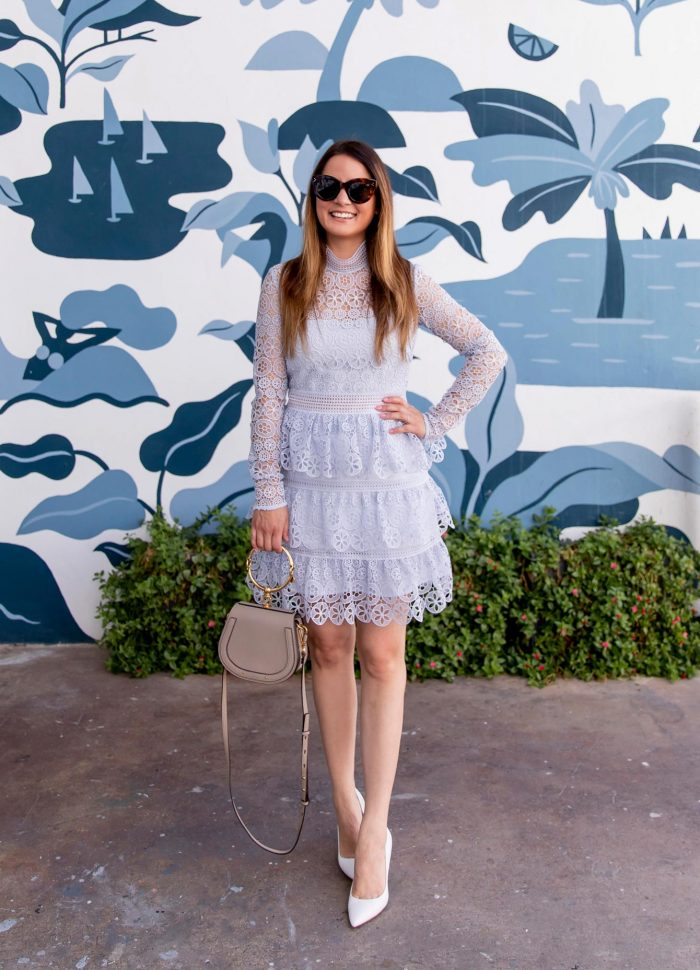 Self Portrait Blue Tiered Lace Mini Dress in Palm Beach