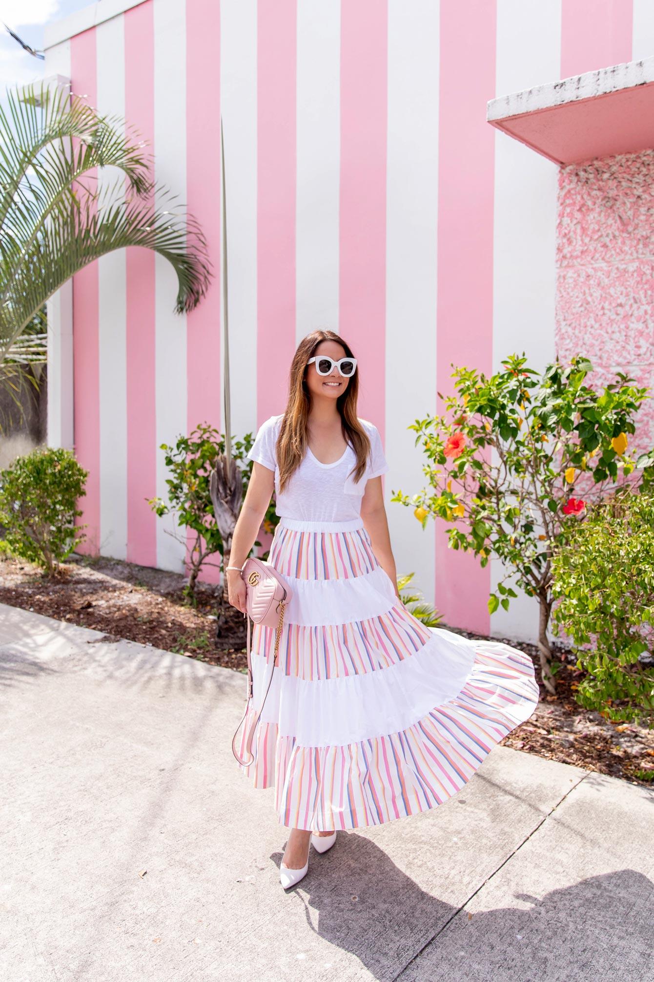 Pink Stripe Wall Palm Beach