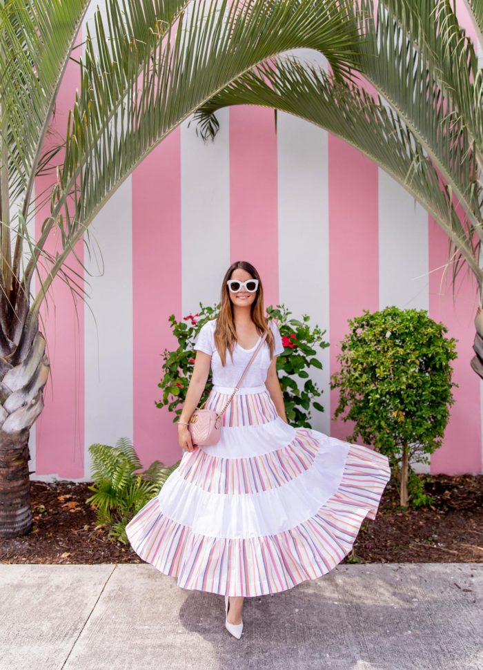 A Colorful Stripe Midi Skirt in Palm Beach
