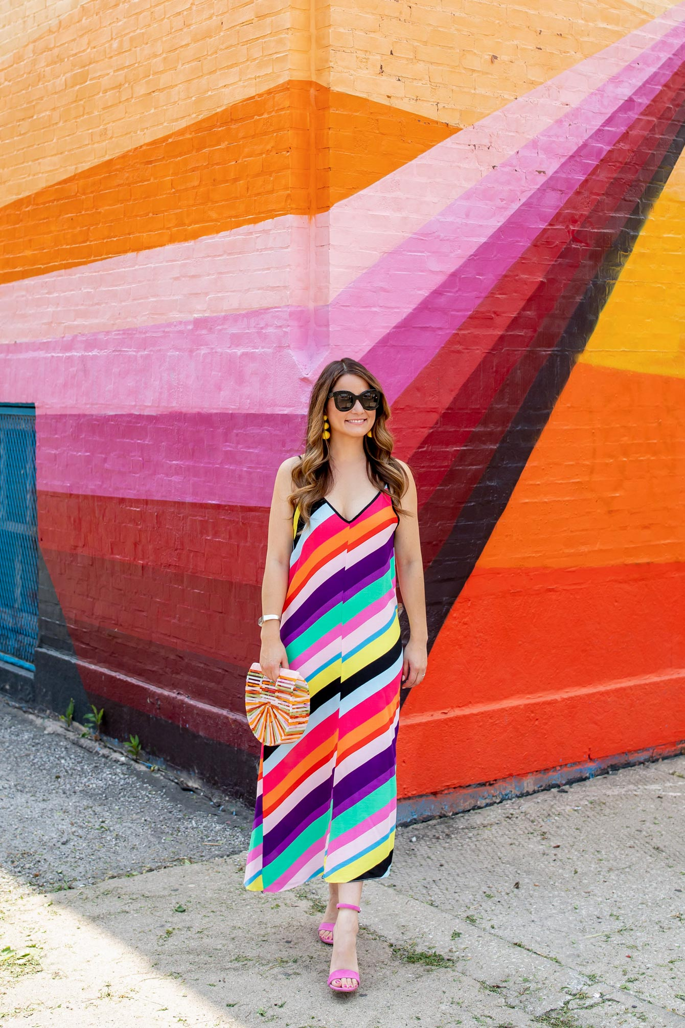 Topshop Rainbow Stripe Maxi Dress