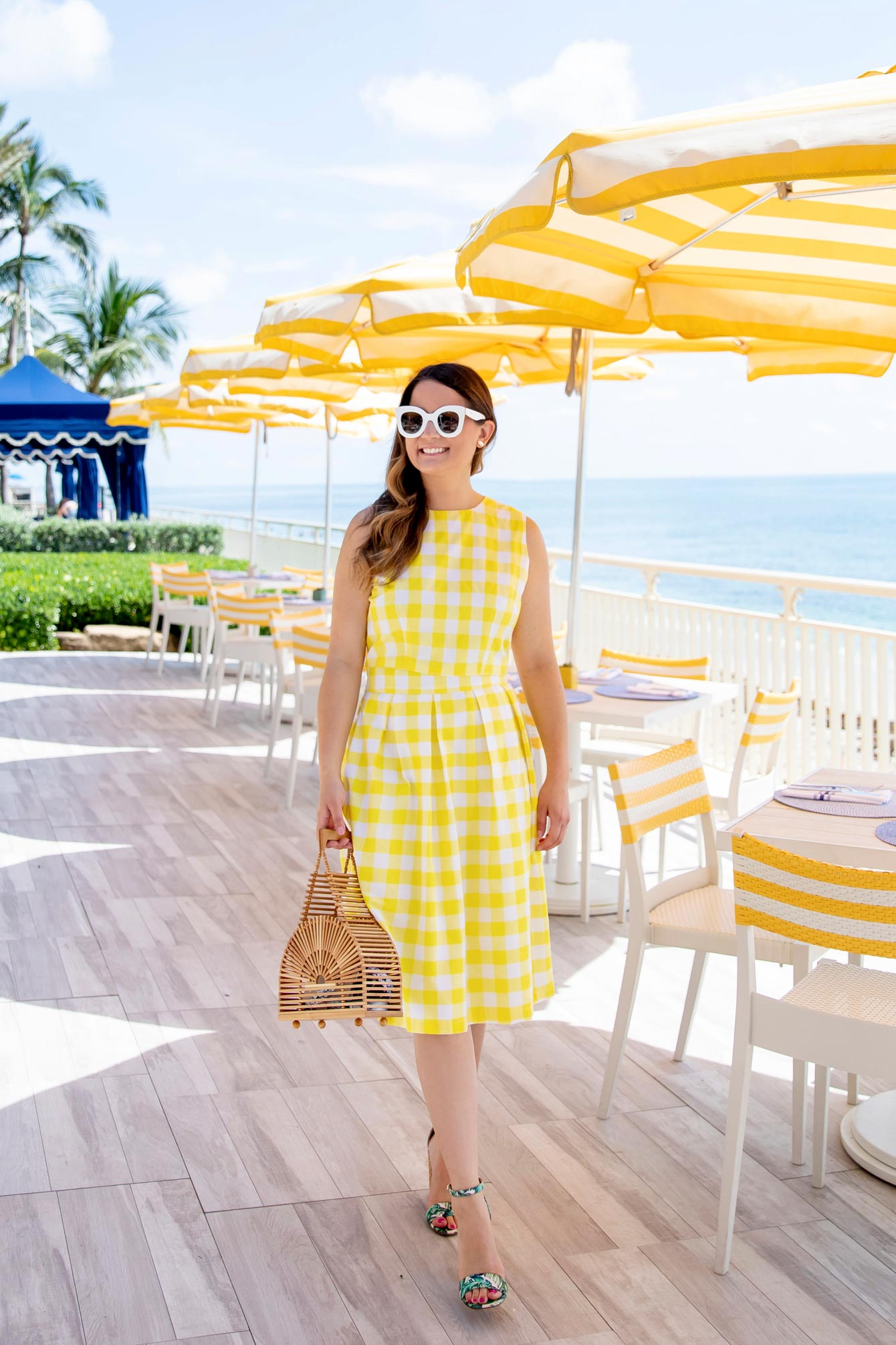 Yellow Gingham Midi Skirt