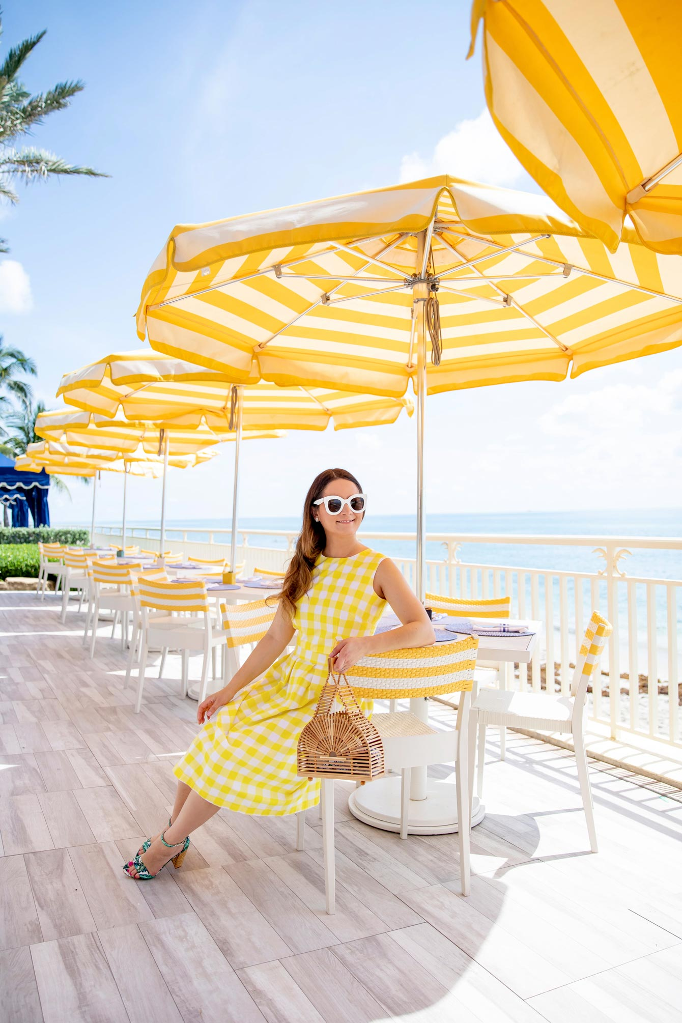 Yellow Stripe Umbrellas Palm Beach