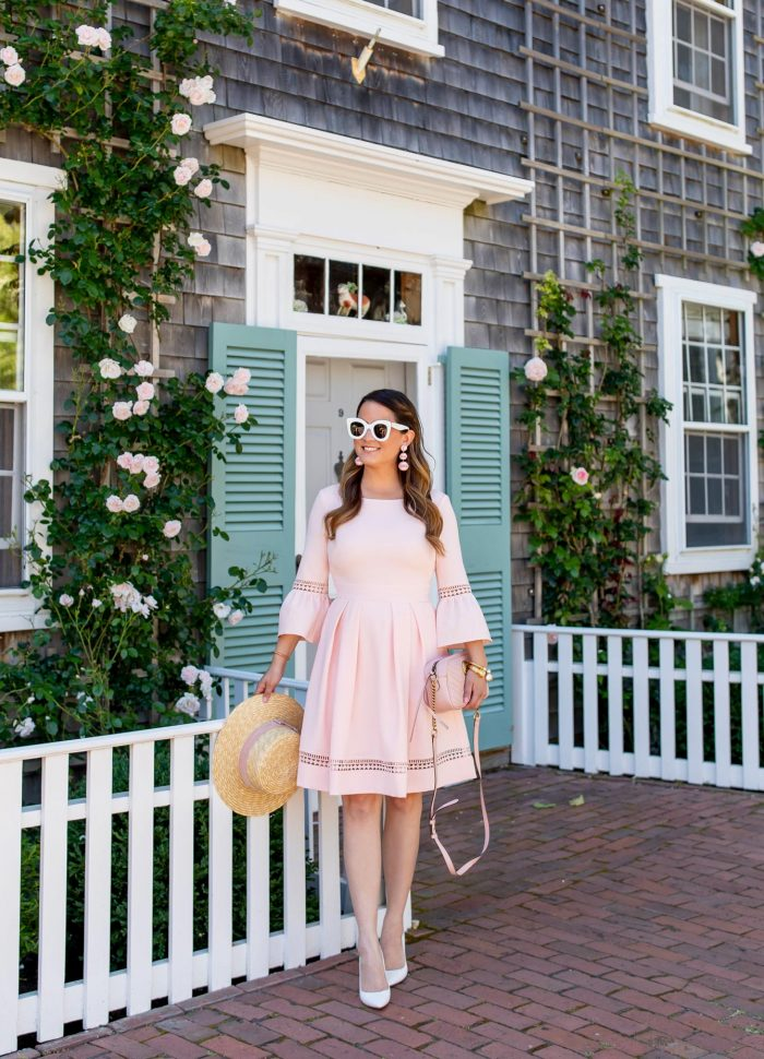 Blush Bell Sleeve Fit and Flare Dress // Friday Charades