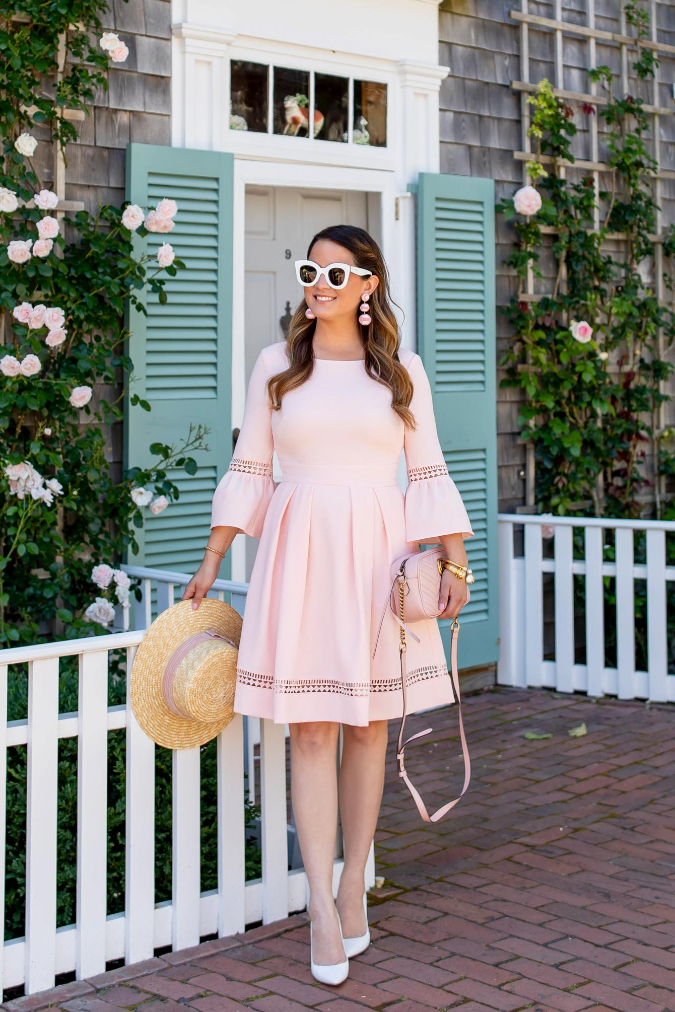 Blush Bell Sleeve Fit and Flare Dress