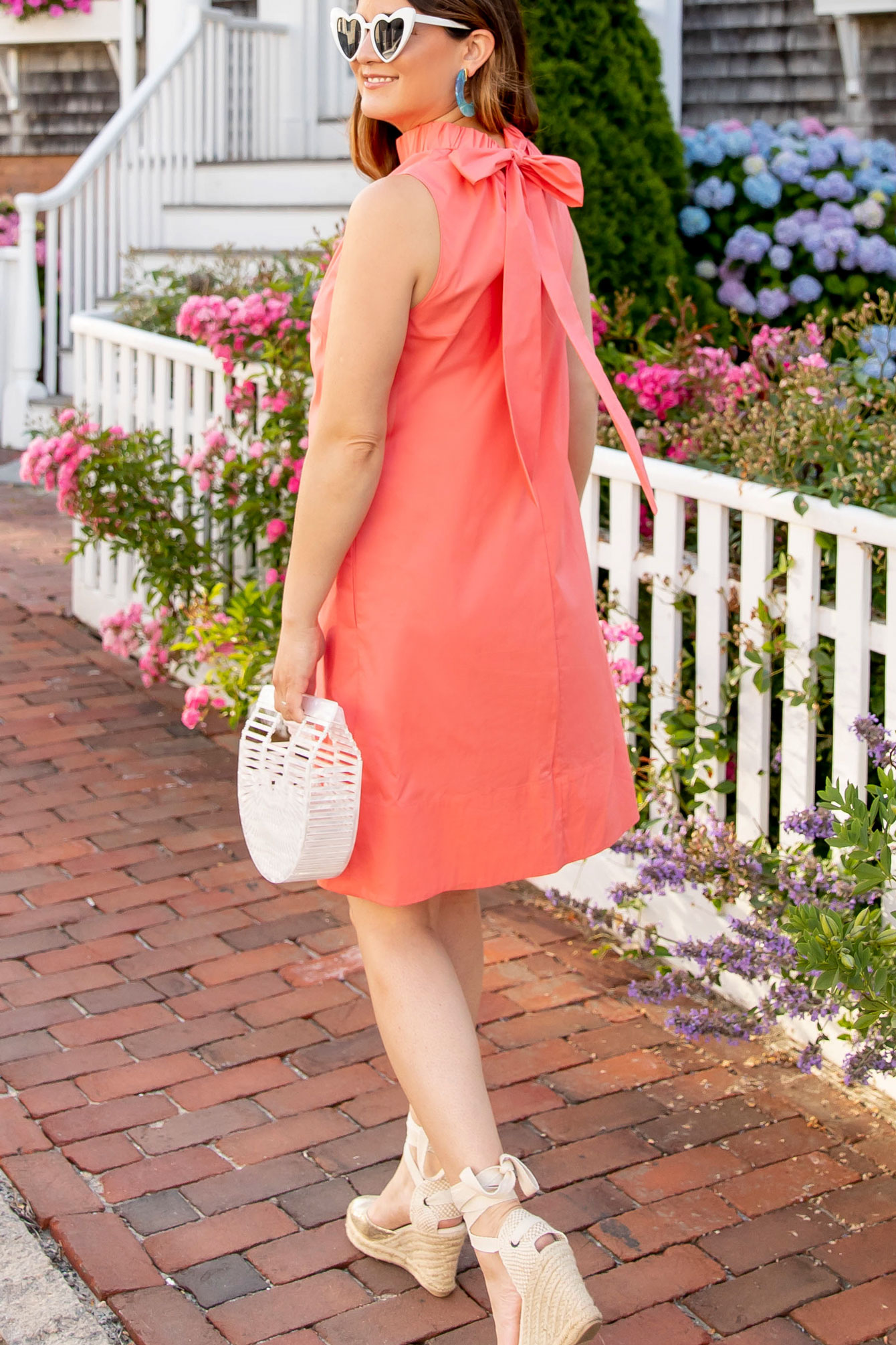 Coral Bow Back Shift Dress