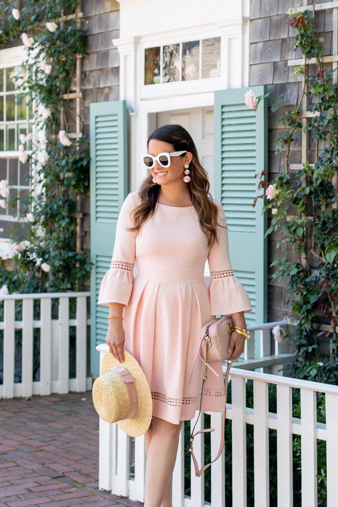 Eliza J Pink Bell Sleeve Dress