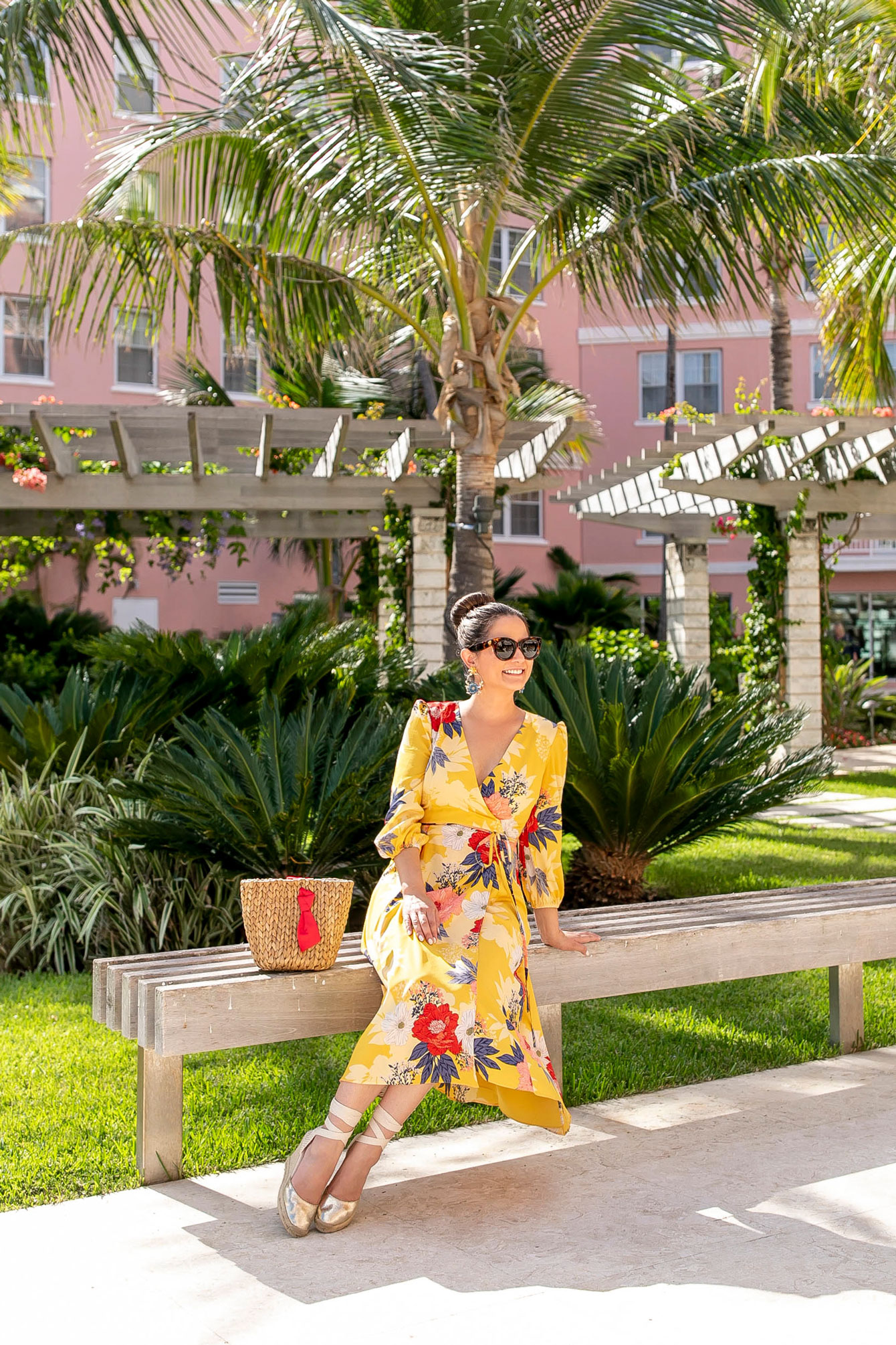 Eliza J Yellow Floral Wrap Dress